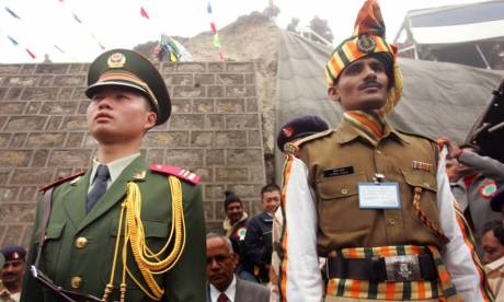 Soldiers at the India-China border crossing Nathu-la