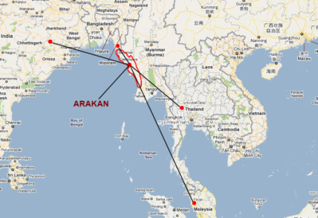 Rohingya refugee routes out of Burma