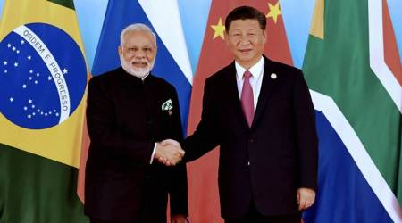 Modi and Xi at BRICS conference in Xiamen (2017)