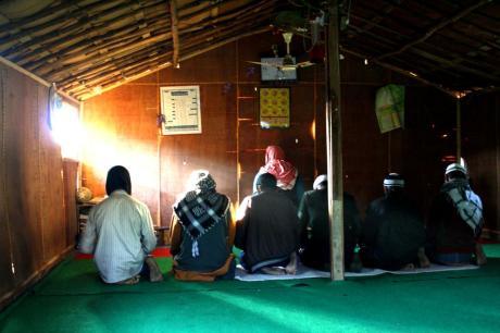 Rohingya refugees at prayer in Jammu