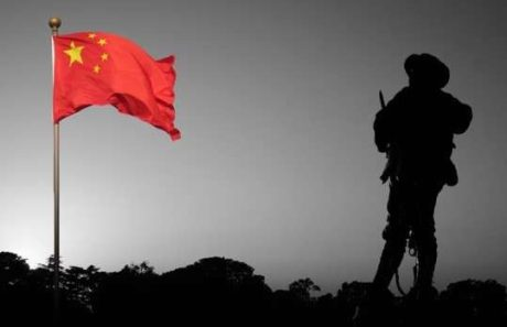 China flag Indian soldier