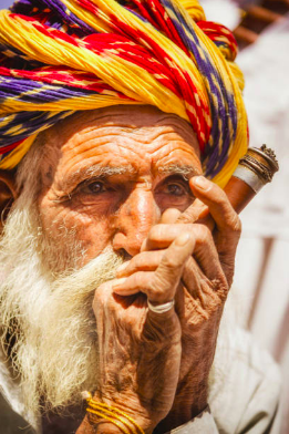 Indian villager smoking ganja