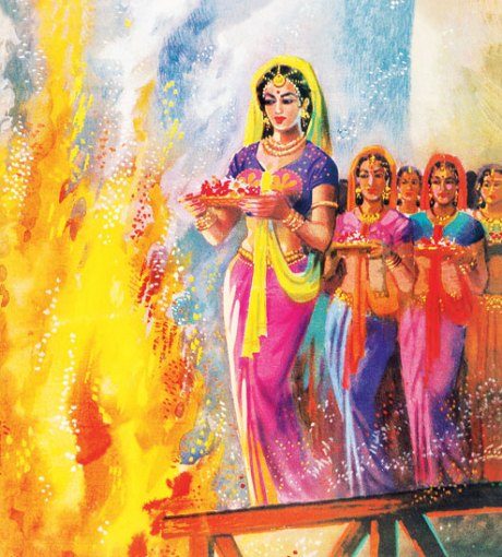 Padmavati and the palace ladies perform jauhar