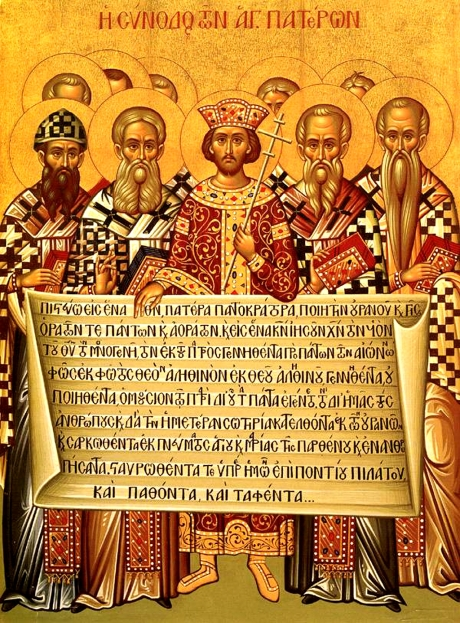 Constantine with Christian bishops and Nicene Creed