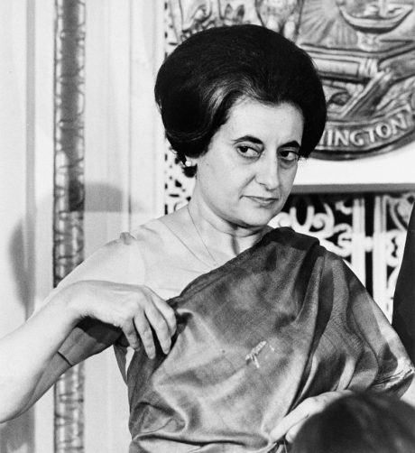 Indira Gandhi, whose Indian National Congress government enacted the 42nd Amendment in 1976, during the Emergency.