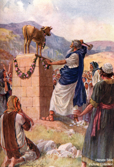 Moses orders the destruction of the Golden Calf