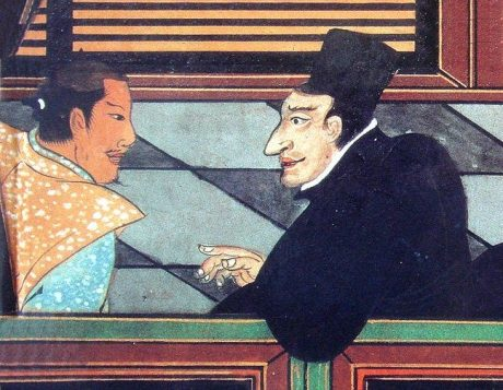 Jesuit missionary with Japanese nobleman circa 1600