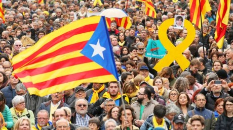 Catalan people protest Puigdemont's arrest