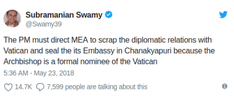 Dr Swamy's Tweet