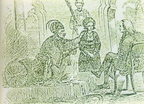 Thuljaji II and little Serfoji II with Lutheran missionary Schwarz