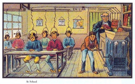 French 1910 illustration of an  English school in the year 2000