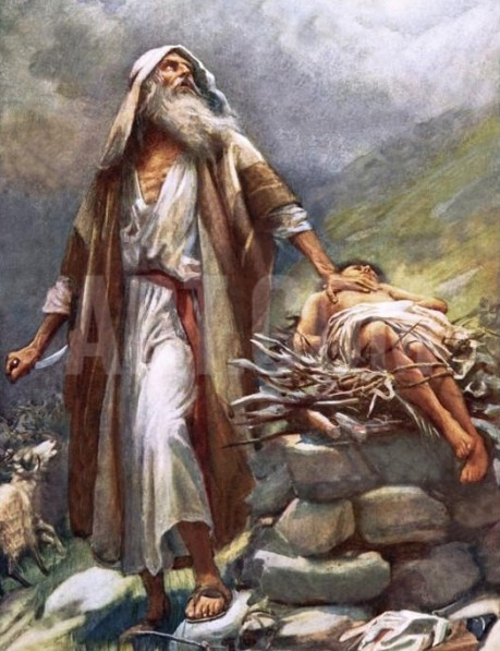 Abraham about to sacrifice Isaac to Yahweh (Jehovah)