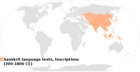 Distribution of Sanskrit in Asia