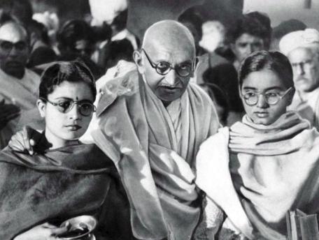Gandhi with nieces