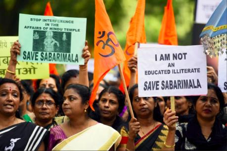 Kerala women devotees protesting the Sabarimala verdict.