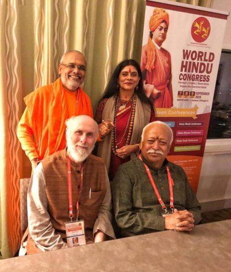 David Frawley with Mohan Bhagwat at the World Hindu Congress (2018)