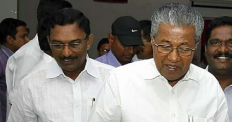 Kerala Chief Minster Pinarayi Vijayan (R) along with Travancore Devaswom Chairman and ex-CPM MLA A Padmakumar (L)