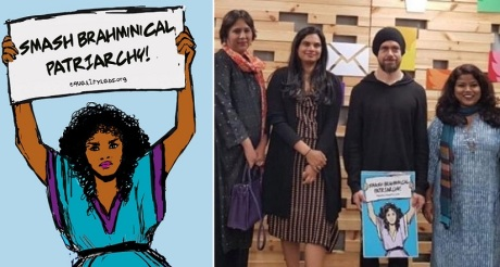 """Twitter CEO Jack Dorsey with anti-Hindu Indian feminists holding a placard saying """"Smash Brahminical Patriarchy""""."""