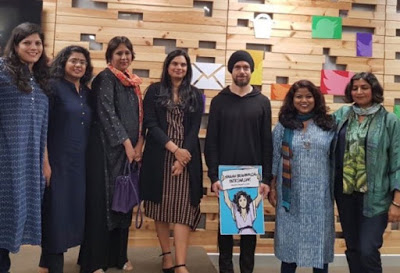 SMASH BRAHMINICAL PATRIARCHY : Twitter CEO Jack Dorsey with Indian feminist Hinduphobes in Mumbai.