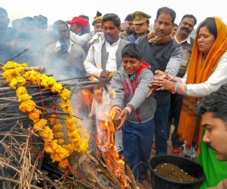Cremation of CRPF jawan Ram Vakeel in Mainpuri