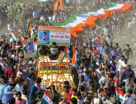 Funeral procession of CRPF Jawan Sanjay Singh in Patna