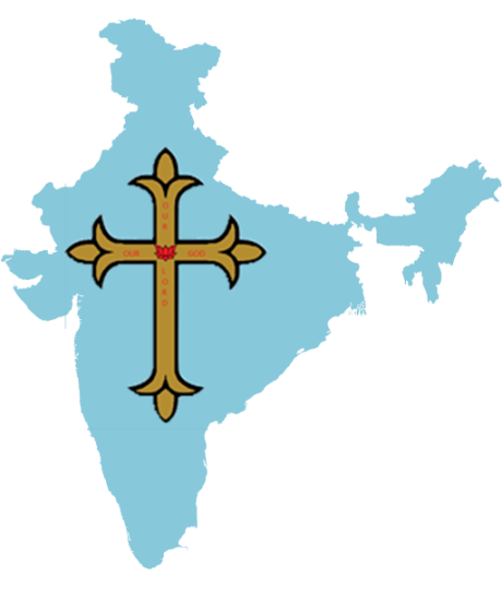 Cross imposed on India map