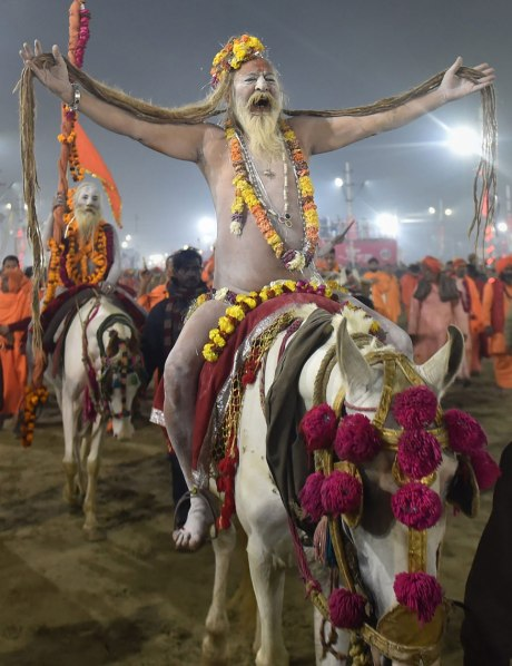 Naga sadhus on parade at Kumbh (2019)