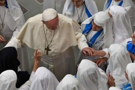 Pope Francis with nuns at the Vatican