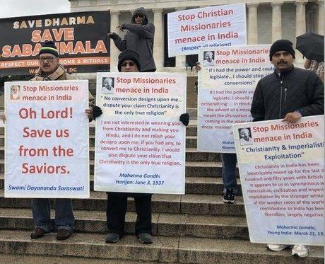 Protesting against Christian missionaries at Sabarimala