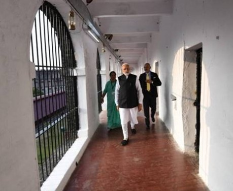 Modi visits Cellular Jail in December 2018.