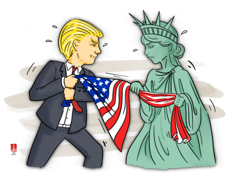 Trump and Liberty have a tug-o'-war.