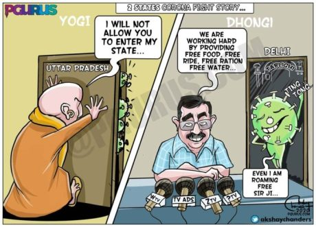Delhi-UP States Cartoon