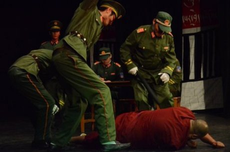 Chinese military occupying Tibet torture and kill Tibetan monks.
