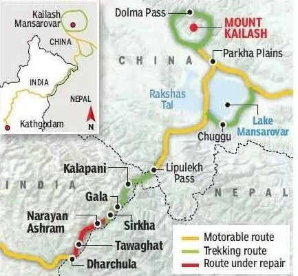 India-Kailash Route Map