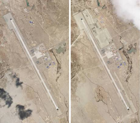 Ngari Gunsa Airport: Construction at Ngari Gunsa airport near the Indian border. Left pic was taken on Apr 1 and right on May 17, 2020.
