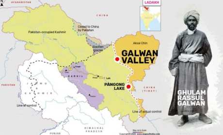 The Galwan river is named after Ghulam Rassul Galwan, a Ladakhi adventurer who was part of Francis Younghusband's expedition to Tibet. The Galawans were a clan of horse traders originally from Kashmir.
