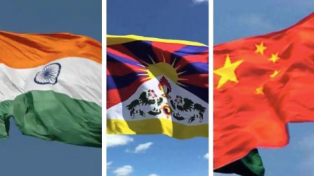 India, Tibet, China Flags
