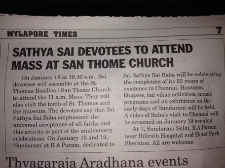 Sai Baba devotees attend San Thome Cathedral for Mass!