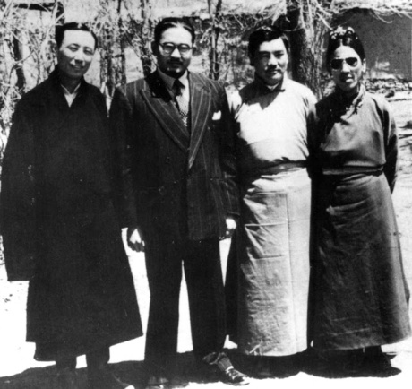 Sumul Sinha with officials of the Tibetan government in Lhasa.