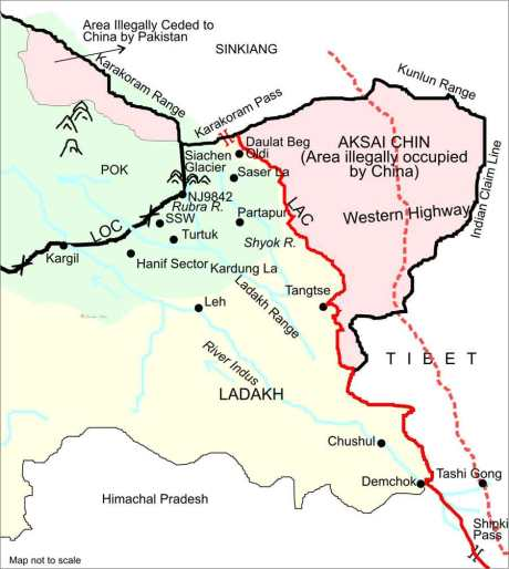 Line of Actual Control in Ladakh and Eastern Ladakh (Aksai Chin).