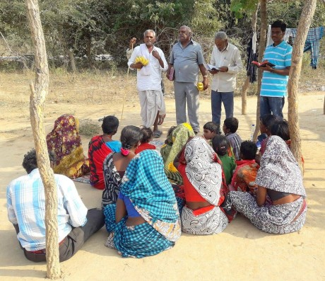 Bible preaching to tribals.