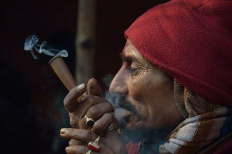 Smoking ganja in Kolkata.