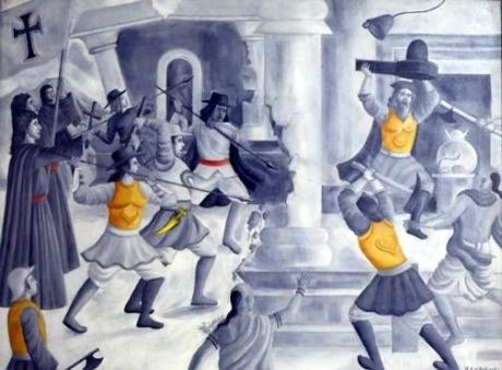 Portuguese padres destroy the Saptakotishwar Shiva Temple in Old Goa.
