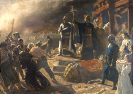 Bishop Absalon topples the God Svantevit at Arkona in 1169.
