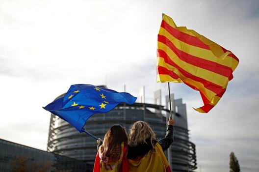 Catalonia-EU-flags