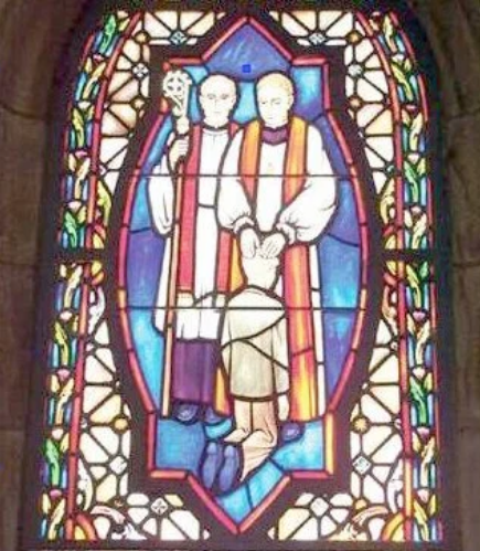 Church window with priests and boy