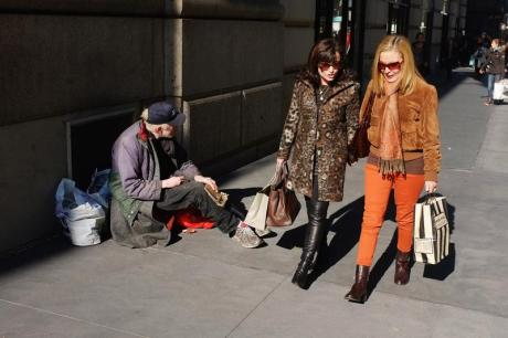 Rich and poor on a Manhattan street.