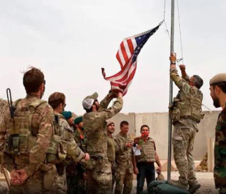 US flag lowered as Americans leave their Afghanistan base.
