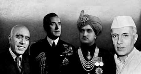 Sheikh Abdullah, Louis Mountbatten, Hari Singh, Jawaharlal Nehru
