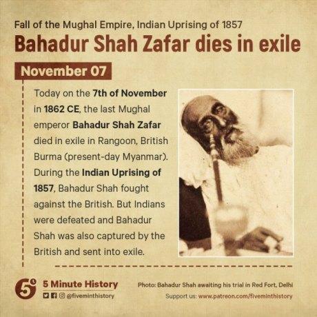 Bahadur Shah Zafar was the twentieth and last Mughal Emperor of India.